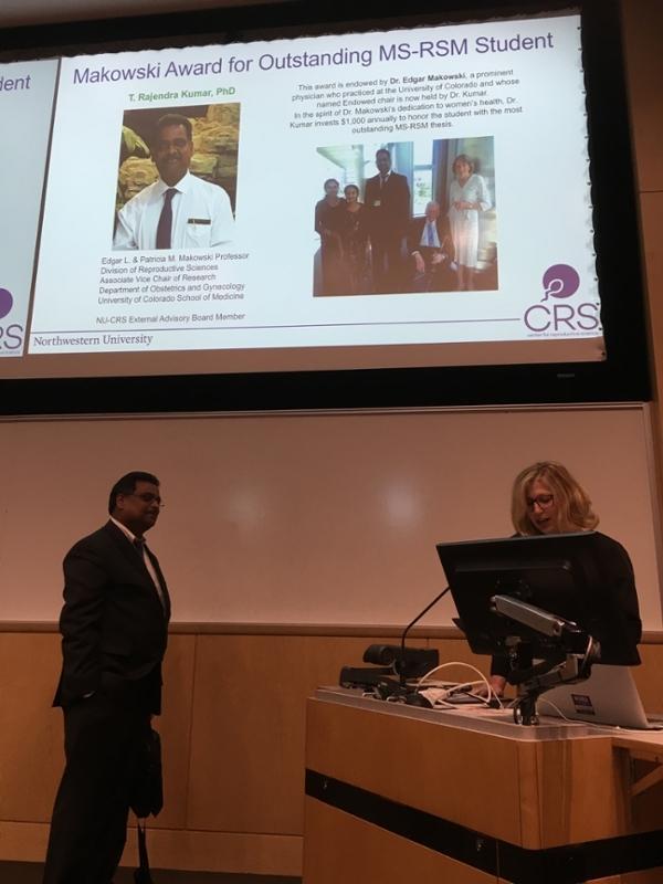 Drs. Kumar and Woodruff presenting Makowski award